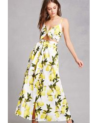c09a1753c6 Forever 21 Lemon Crop Top & Maxi Skirt Set in White - Lyst