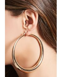 Forever 21 - Metallic Crescent Drop Hoop Earrings - Lyst