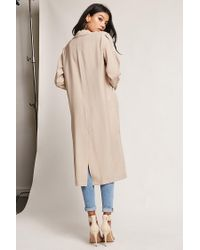 Forever 21 - Natural Oversized Single-breasted Trench Coat - Lyst
