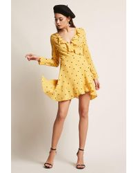 Forever 21 - Yellow Selfie Leslie Polka Dot Dress - Lyst