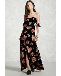 Forever 21 - Black Contemporary Floral Maxi Dress - Lyst