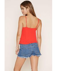Forever 21 - Orange Surplice-front Cami - Lyst