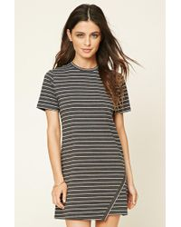 f5384ae014 Lyst - Forever 21 Striped T-shirt Dress in Gray