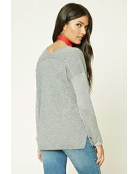 Forever 21 - Gray Contemporary V-neck Sweater - Lyst