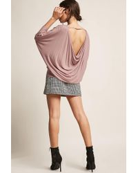 Forever 21 Purple Cowl-back Dolman Top