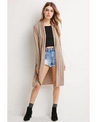 Forever 21 - Brown Heathered Longline Cardigan - Lyst