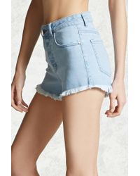 Forever 21 - Blue Frayed Denim Cutoffs - Lyst