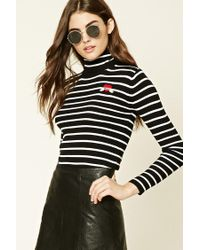 Forever 21 - Black Striped Amore Patch Jumper - Lyst