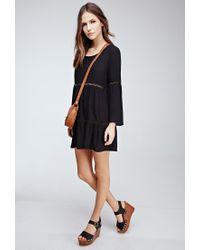 Forever 21 - Black Crochet-paneled Bell Sleeve Peasant Dress - Lyst