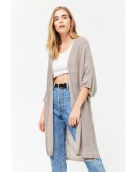Forever 21 - Gray Frayed Open-front Cardigan - Lyst