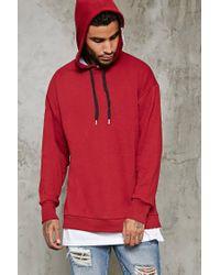 Forever 21 Red Zip-shoulder Hoodie for men