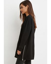 Forever 21 - Black Side-zip Longline Top - Lyst