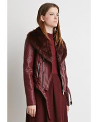 Forever 21 - Red Faux Fur Moto Jacket - Lyst