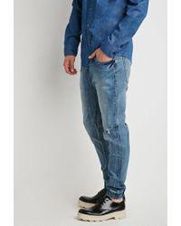 Forever 21 - Blue Paneled Denim Joggers for Men - Lyst