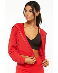 Forever 21 - Red Women's Active Cropped Zip-up Hoodie - Lyst
