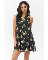 d89f18eca61b Lyst - Forever 21 Floral Chiffon Shift Dress in Black