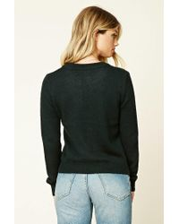 Forever 21 - Green Marled Knit Lace-up Sweater - Lyst