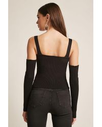 Forever 21 - Black Women's Ribbed Open-shoulder Top - Lyst