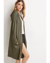 Forever 21 - Green Longline Hooded Cardigan - Lyst