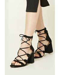 ac637ab2f5 Lyst - Forever 21 Faux Suede Strappy Sandals in Black