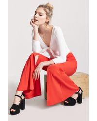 Forever 21 Red Women's High-rise Flare Trousers