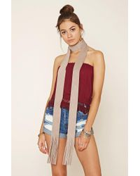 Forever 21 - Natural Fringe Faux Suede Scarf - Lyst
