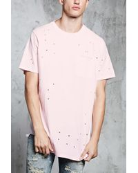 Forever 21 - Pink Distressed Raw-cut Pocket Tee for Men - Lyst