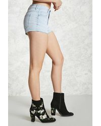 Forever 21 - Blue Raw-cut Distressed Shorts - Lyst