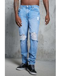 Forever 21 - Blue Ankle-zip Slim-fit Jeans for Men - Lyst