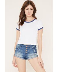 Forever 21 - Blue Button-fly Denim Shorts - Lyst