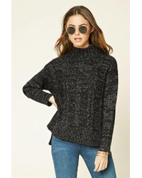 Forever 21 | Black Marled Knit Mock Neck Sweater | Lyst