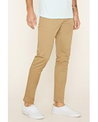 Forever 21 - Brown Cotton-blend Slim Fit Pants for Men - Lyst