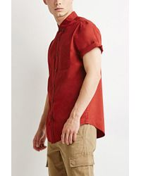 Forever 21 - Red Button-collar Shirt for Men - Lyst