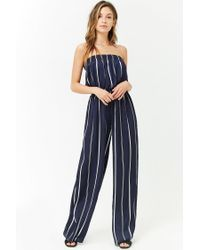 ffb002ea6443 Forever 21 Satin Striped Strapless Jumpsuit in Blue - Lyst
