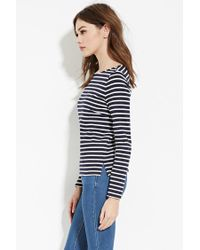 Forever 21 - Blue Striped Wide-neck Top - Lyst