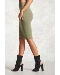 Forever 21 - Green Stretch-knit Bodycon Skirt - Lyst