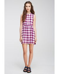 Forever 21 - Purple Plaid Buttoned Dress - Lyst