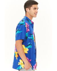 Forever 21 - Blue 's Tropical Floral Chest Pocket Shirt for Men - Lyst