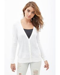 Forever 21 - Natural Classic V-neck Cardigan - Lyst