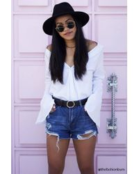 Forever 21 | Blue Distressed Denim Shorts | Lyst