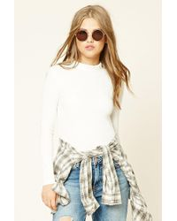 a49a125f68e82 Lyst - Forever 21 Ruffled Mock Neck Top in White