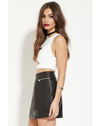 Forever 21 - White Cutout-front Crop Top - Lyst