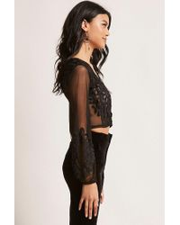 Forever 21 - Black Lace-up Mesh Crop Top - Lyst