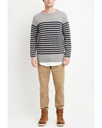 Forever 21 - Gray Striped Cotton Sweater for Men - Lyst