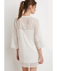 Forever 21 - Natural Embroidered Chiffon Peasant Tunic - Lyst
