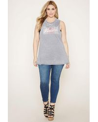 Forever 21 - Gray Plus Size Malibu Muscle Tee - Lyst