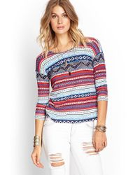 Forever 21 - Blue Mixed Print Top - Lyst