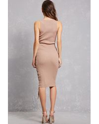 Forever 21 - Natural Lace-up Bodycon Dress - Lyst