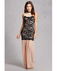 Forever 21 | Black Illusion Floral Mermaid Gown | Lyst