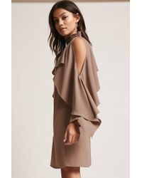 Forever 21 - Brown Open-shoulder Shift Dress - Lyst